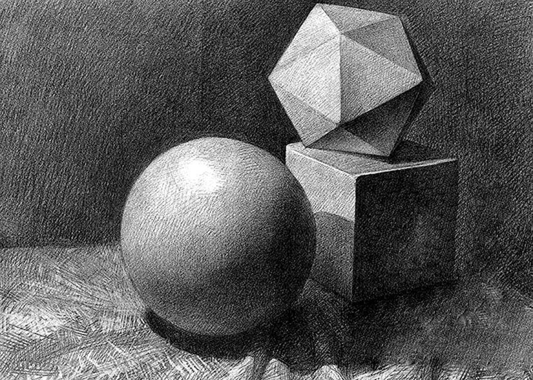 素描石膏球体画法步骤